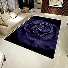 LHGBGBLN 3D Printing Carpet Dark Blue Rose Bedroom Living Room Non-Slip mat Corridor Floor mat Door mat Flower Carpet Home...