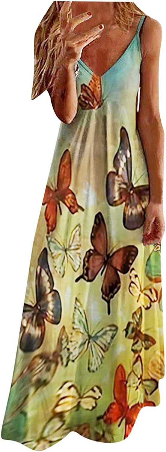 Jaqqra Summer Dress for Women V Neck Sleeveless Butterfly Floral Printed Casual Long Maxi Dress Cover Up Boho Sundress