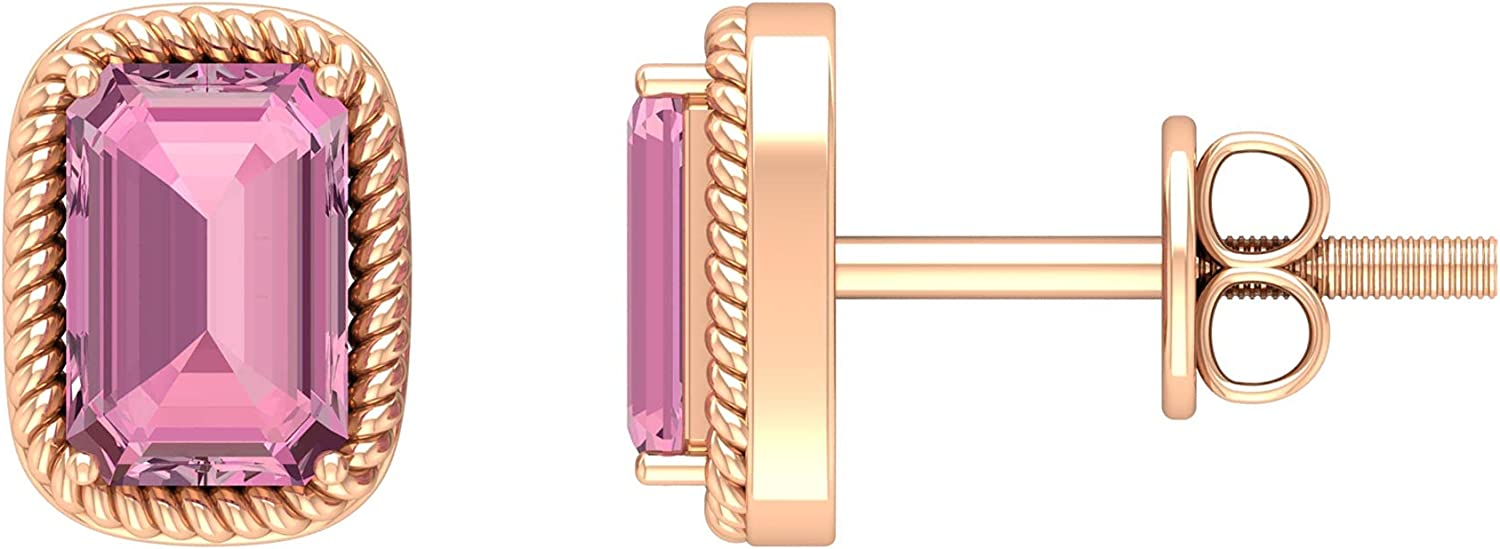 October Birthstone - 1.25 CT Pink Tourmaline Solitaire Stud Earring with Gold Rope Detailing (4X6 MM Octagon Cut Pink Tourmaline),14K Rose Gold,Pink Tourmaline