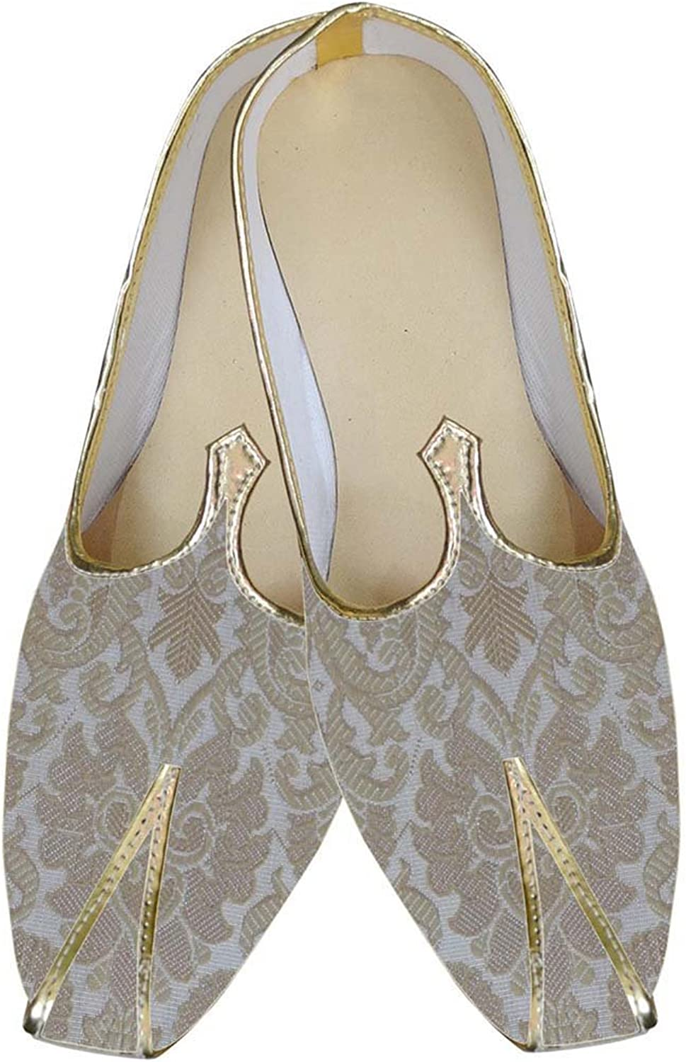 INMONARCH Mens Cream and Beige Indian Wedding shoes MJ0161
