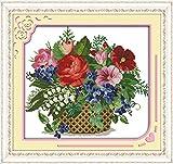 DIY Kits de Bordado Punto Cruz-DIY 11CT Cross Stitch Kit de Herramienta de Puntada Cruzada Contada a Mano (40x50cm)- Cesta de flores florecientes