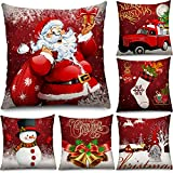 6 pezzi copricuscini di natale 18 x 18 pollici fodere per cuscini natalizi federa natalizie decorazioni fodera per cuscino babbo natale pupazzo di neve per natale divano