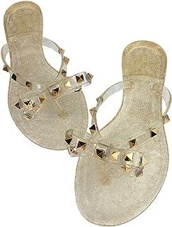 811abaf94 Womens Rivets Bowtie Flip Flops Jelly Thong Sandal Rubber Flat Summer Beach  Rain Shoes