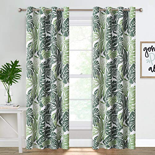 NICETOWN Room Darkening Print Curtains 84 inches Length, Summer Palm Tree Banana Leaf Light Reducing Window Coverings for Villa/Hall/Patio Door, W52 x L84, Double Pieces, Green Palm