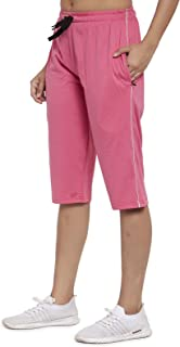 UZARUS Women's Cotton Three Fourth Capri Shorts with Two Zippered Pockets