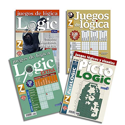 DataPrice Pack de 4 Libros de Pasatiempos de Lógica. Juegos de Lógica para Adultos Variados. - Ed. Zugarto -.