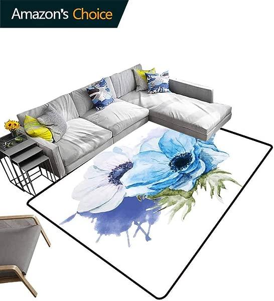 海葵花 Ikat 区域地毯入口乡村花卉设计,水彩花朵飞溅耐用地毯生活餐厅办公室房间卧室走廊地毯 3X5