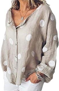 قمصان أبيكوك النسائية برقبة على شكل حرف V مقاس زائد كم طويل منقط بأزرار للأسفل