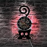 Unbekannt Lyq 12' Katze Tiere Vinyl Uhr Mauer Licht Led Jahrgang Aufzeichnung Handarbeit Geschenk Lampe Cool Zuhause Innere Silhouette Dekorativ Kunst
