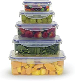 Food Storage Airtight Nested Plastic Containers with Locking Lids (Set of 5)