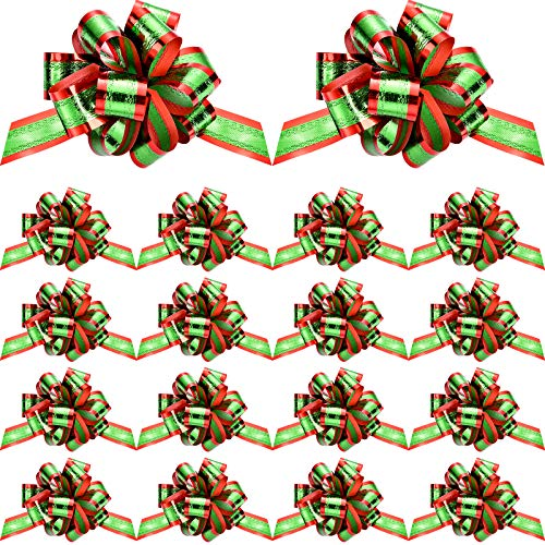 20 Pieces Christmas Pull Bows Red and Green Metallic Christmas Bows with Ribbons Christmas Wrapping Bows for Birthday Wedding Christmas New Year Party Ornament, 5 Inches