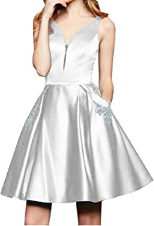 JONLYC V Neck Sleeveless Beaded Homecoming Dress Satin Short Bridesmaid Dress
