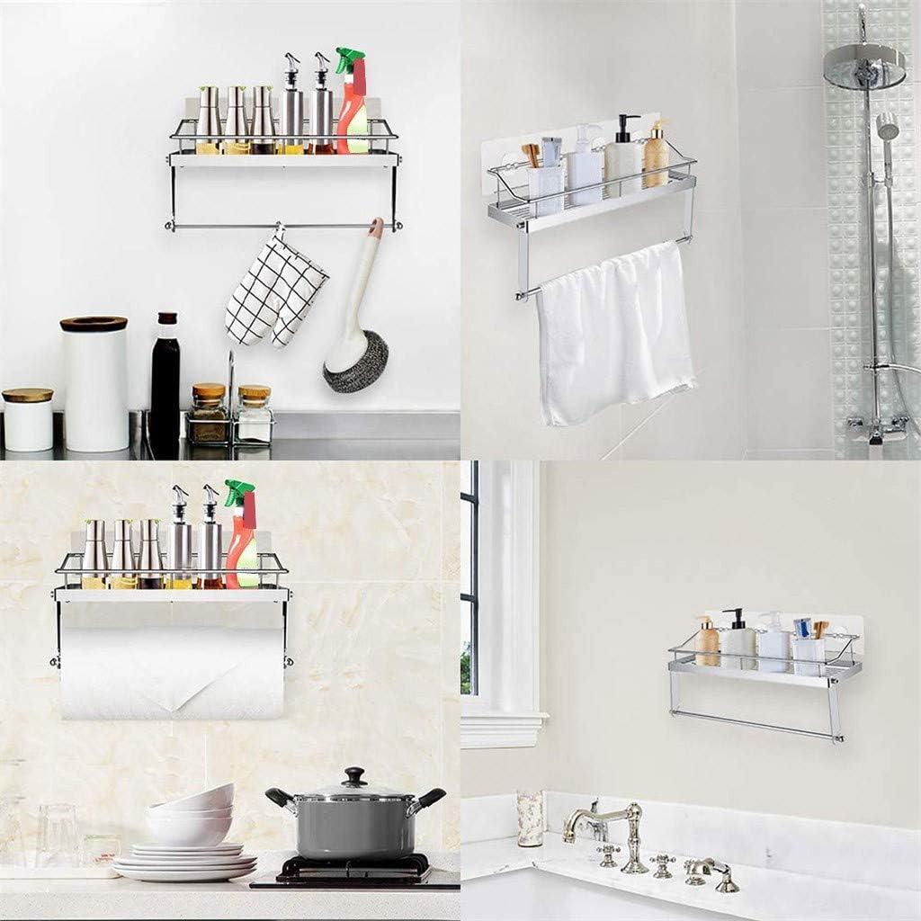 XGao Shower Caddy Bathroom Basket Shelf with Paper Roll Holder Towel Hanger Bar Adhesive Shelves Storage Organizer Kitchen Rack Wall Mount Stainless Steel Racks for Toilet Hotel Dorm House