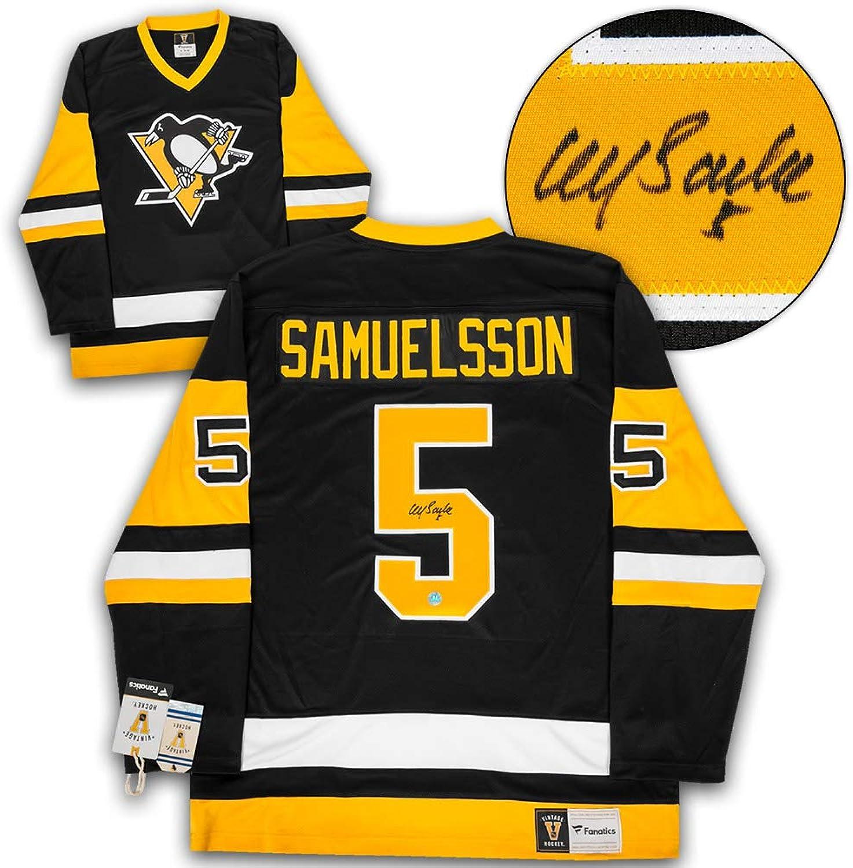 Ulf Samuelsson Pittsburgh Penguins Autographed Fanatics Vintage Hockey Jersey