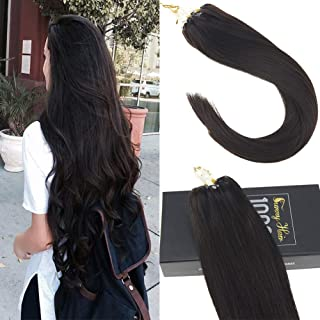 Sunny Micro Link Hair Extensions Remy Human Hair 50Strands Full Head Darkest Brown (Col #2) Ring Loop Hair Extensions 16 Inches 50gram