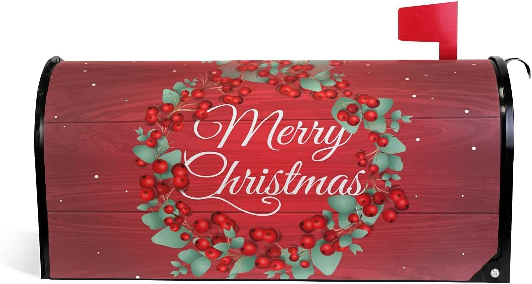 Outlet SALE SUABO Merry Christmas Wreath Red for Direct stock discount Stan Mailbox Magnetic Cover