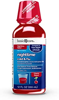 Basic Care Nighttime Cold & Flu Relief, Pain Reliever, Fever Reducer, Cough Suppressant, Antihistamine, Cherry Flavor, 12 Fluid Ounces