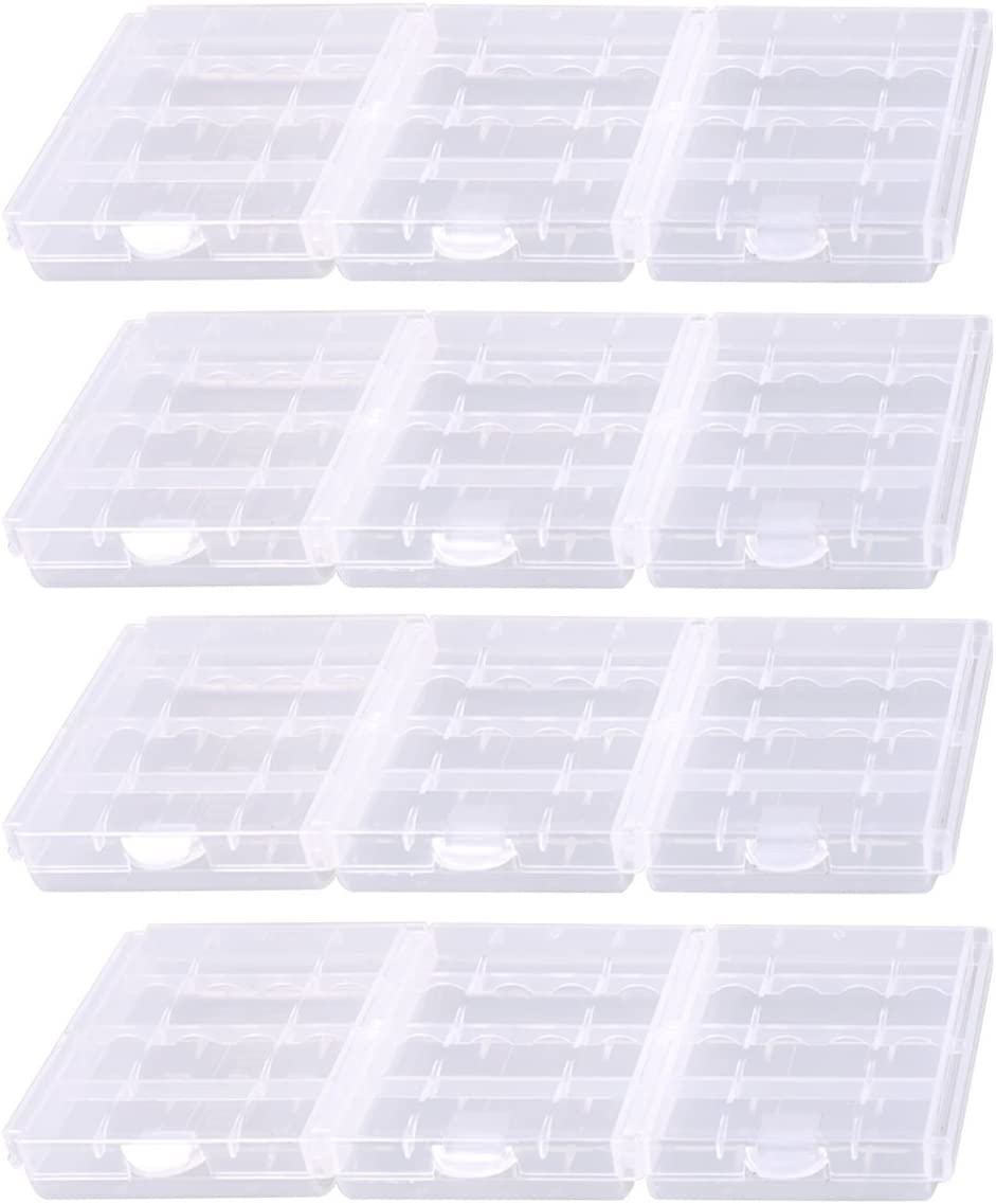 KEEPOW 12 Pcs AA/AAA Battery Storage Case Holder Box, Clear Color