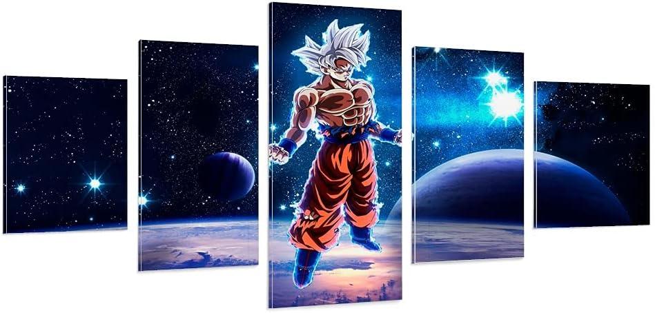 Hitecera 5 Piece Anime Poster Super Canvas Son P Saiyan Goku Art Now on sale Very popular