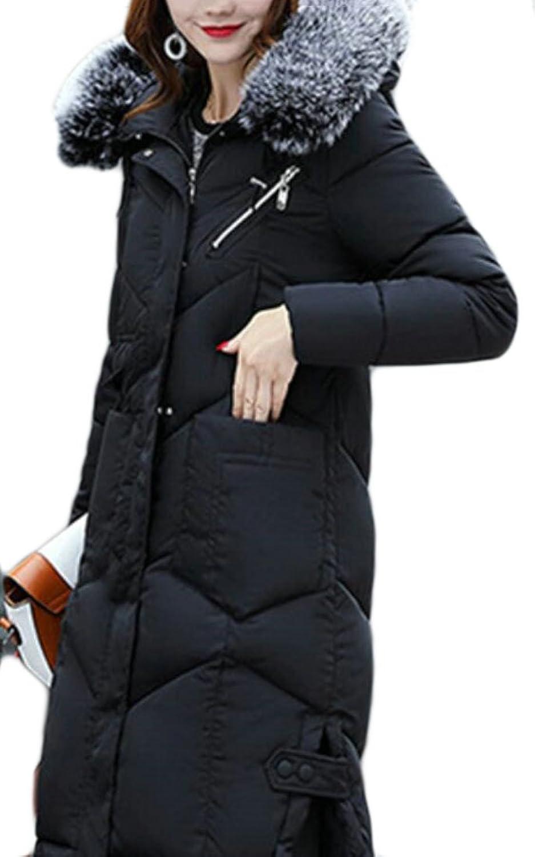 Qiangjinjiu Womens Down Coat Faux Fur Hooded Parka Puffer Jacket Long Overcoat