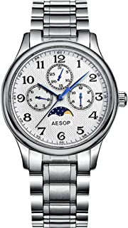 Aesop Fashion Luxury Men Day Date Analog Japanese Quartz Wrist Watch with Stainless Steel Band Moon Phase Waterproof Silver White
