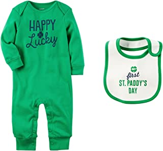 Boys or Girls Baby's First St Patrick's Day Romper Jumpsuit and Bib Set
