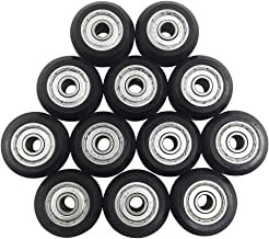 AFUNTA 12 Pcs Big Plastic Pulley Wheels with Bearings Gear Perlin for 3D Printer, Compatible with CR-10 / CR-10S / CNC Router Hybrid – Black