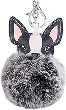 HanYoer Cute Animal 8cm Fur Ball Faux Fur Puff Ball Dog Keychain Bag Car Ring Pendant Keyrings (Black-2)