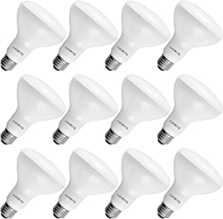 12-Pack BR30 LED Bulb, Luxrite, 65W Equivalent, 3500K Natural White, Dimmable, 650 Lumens, LED Flood Light Bulbs, 9W, E26 Medium Base, Damp Rated, Indoor/Outdoor - Living Room, Kitchen, and Recessed