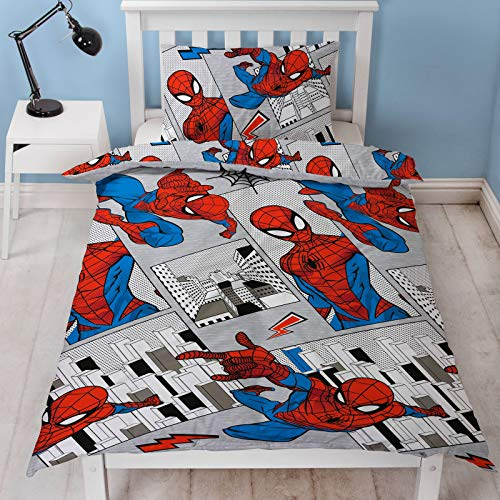 Spiderman Offizieller Bettbezug für Einzelbett, Design graue Stadtlandschaft, wendbar, zweiseitig, Bettbezug mit passendem Kissenbezug