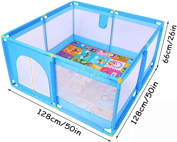 SXXDERTY-playard Square Playpens Baby Fence Household Shatter Resistant Toys House Children'S Safety Playards with Puzzle Play Mats for Baby and Toddlers
