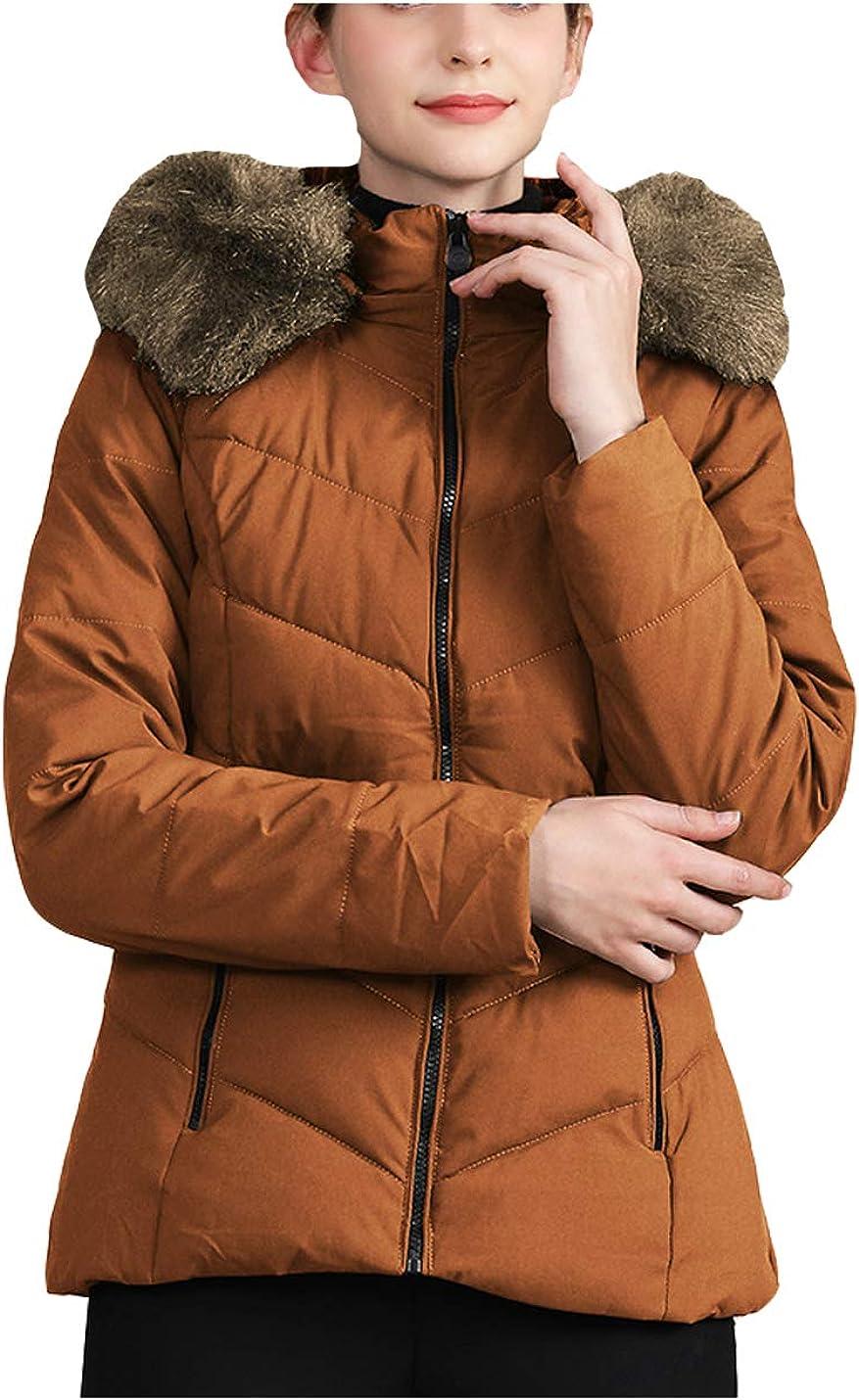 Hongsui Womens Faux Fur Collar Zip Hooded Front Open Coat Outerwear