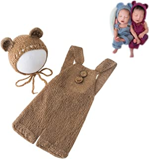 Fashion Newborn Boys Girls Baby Costume Outfits Photography Props Bear Hat with Romper Sets (Camel)