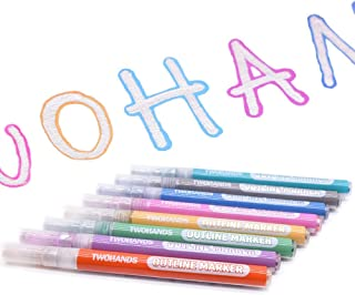 TWOHANDS Outline Markers,Glitter Paint Pens,Double line Metallic Markers,8 Assorted Colors,Great for writing and drawing l...