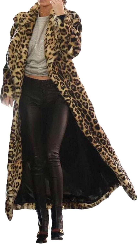 Suncolor8 Women Warm Leopard Print Outerwear Winter Faux Fur Long Cardigan Coat Overcoat