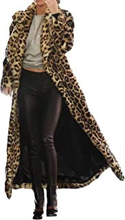 FSSE Women Winter Leopard Print Outerwear Faux Fur Long Cardigan Coat Jacket Overcoat