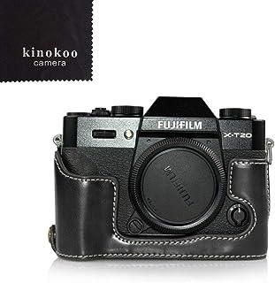 kinokoo FUJIFILM ミラーレス一眼 X-T10 X-T20専用ボディケース バッテリーの交換でき 三脚ネジ穴 標識クロス付き(ブラック)