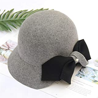 SHENTIANWEI Hat hat Female Autumn and Winter Temperament Korean Fashion Bucket Hats Dome Elegant Pearl Bow hat (Color : Grey, Size : Adjustable)
