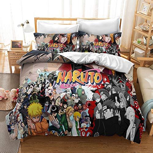 MXSS Funda de edredón Naruto, Ropa de Cama con temática de Anime, Material cómodo y Transpirable, Ideal para niños, Adolescentes y Adultos (Naruto 4,150 x 200 cm-Cama 90)