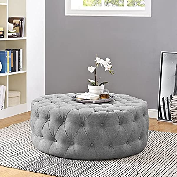 Modway Amour Fabric Upholstered Button Tufted Round Ottoman In Light Gray