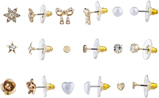 Lux Accessories Gold Tone Romantic Bow Star Heart Flower Multi Earring Set 9pc