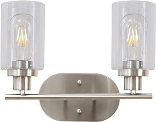 2 Light VINLUZ Bathroom Vanity Light Brushed Nickel Industrial Wall Sconce Fixtures for Porch Bathroom Kitchen Workshop