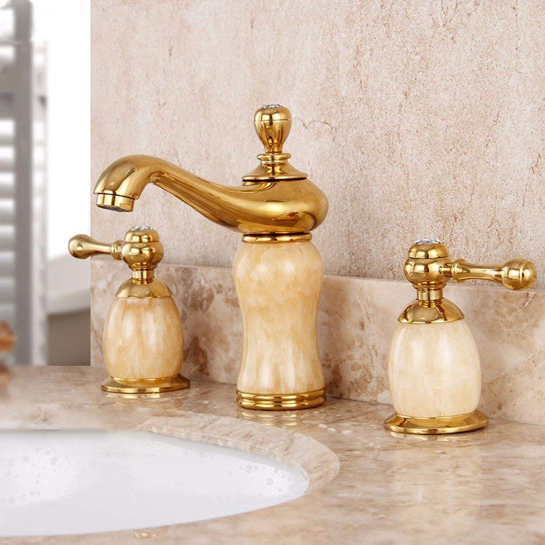 Ywqwdae Europischen Stil Alle Kupfer DREI Lcher Heien Und Kalten Waschbecken Doppelgriff Waschbecken Wasserhahn