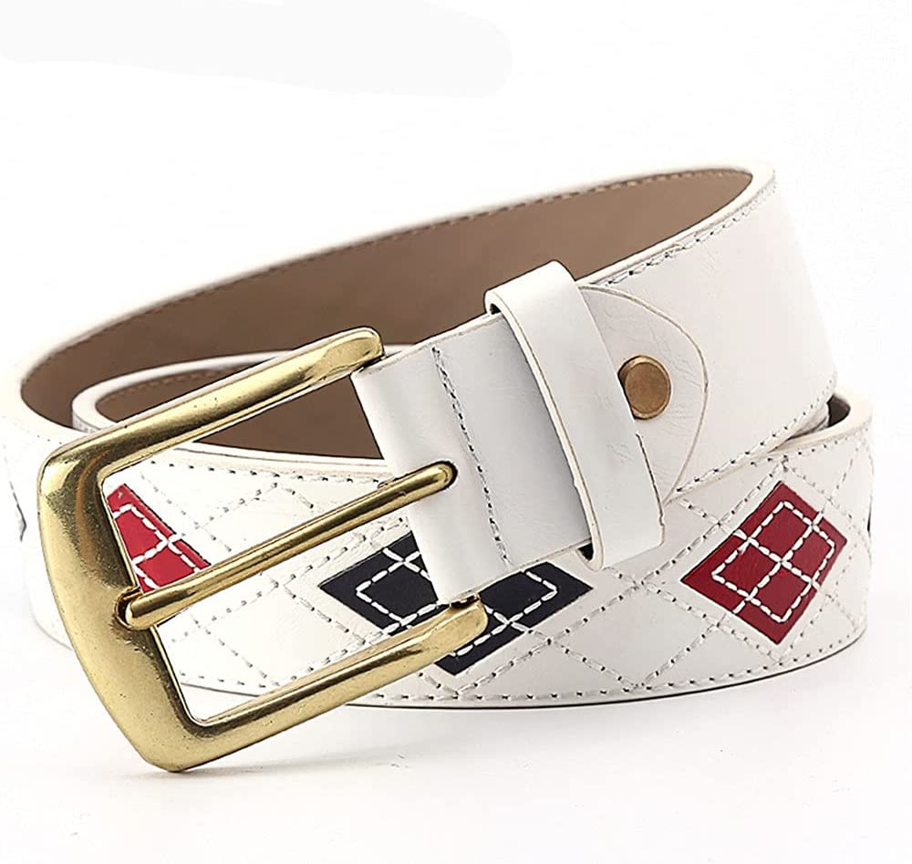 HLMSKD Men's White Leather Inventory cleanup selling sale Belt Sus Patchwork Fashion Nippon regular agency Embroidery