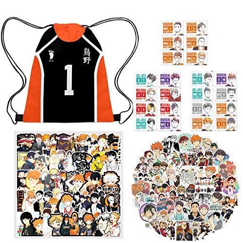 IUTOYYE Anime Kordeltasche + 174 Stück Aufkleber Manga Cosplay Tasche High School Schultertasche mit Kordelzug und Sticker (Set)