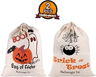 PartyTalk 2pcs Halloween Trick or Treat Bags for Kids, Reusable Canvas Drawstring Tote Bag 17 x 14 Inch Spider Pumpkin Gift Sack Halloween Party Decorations