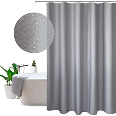 EurCross Fabric Shower Curtain Gray Waffle Weave Lattice, Hotel Luxury Texture Thick Farmhouse Decorative Cloth Shower Curtain for Bathroom 72 x 78 inches Long, Heavyweight
