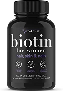 Vitalfuse Biotin 10000mcg Hair Growth Supplements for Women - for Healthy Hair Skin Nails Vitamins for Women - 60 Vegetari...