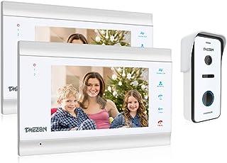 TMEZON videocitofono HD 1080P 7 Pollici 4 fili Visivo Door Phone,2*Monitor LCD Touch screen 1*Campanello Telecamera Estern...