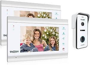 TMEZON HD 1080P video-deurintercomsysteem, bekabeld, 4 draden, 2 x 7 inch monitor en bel, 2-weg audio, opname/onmiddellijk...